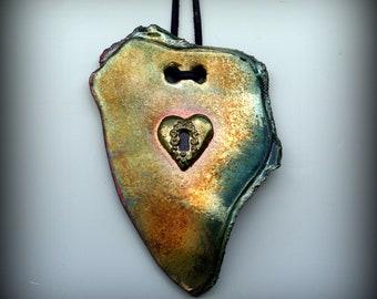 Raku Wall Art with Heart and Keyhole in Metallic Iridescent Colors