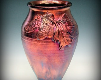 Raku Vase with Pine Cone Design in Metallic Iridescent Colors