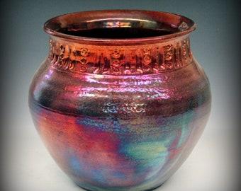 Raku Pot with Carved Neck in Metallic Iridescent Colors