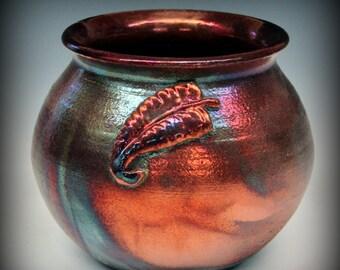 Raku Pot with Fern Design Addition