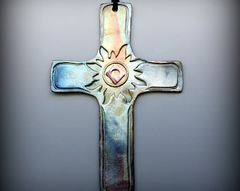 Raku Cross in Metallic and Iridescent Colors