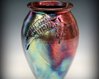 Raku Vase with Fern Design in Metallic Iridescent Colors