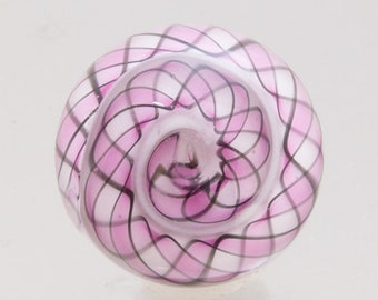 Glass Button - Vortex in pink and white. Handmade button with shank. Lampwork glass by Jennie Yip