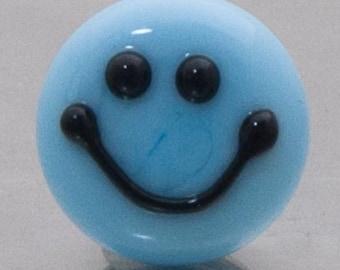 Lapel pin Smile :-) in sky blue - lampwork glass