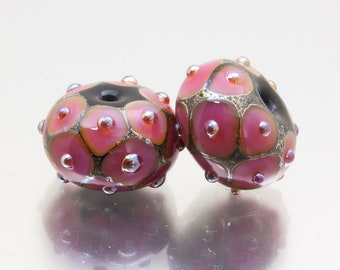 Lampwork glass beads, earring pair. The Net Effect in pink and silver, by Jennie Yip