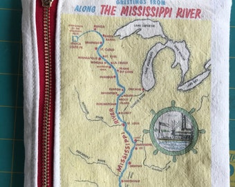 Vintage Mississippi River map postcard zipper pouch