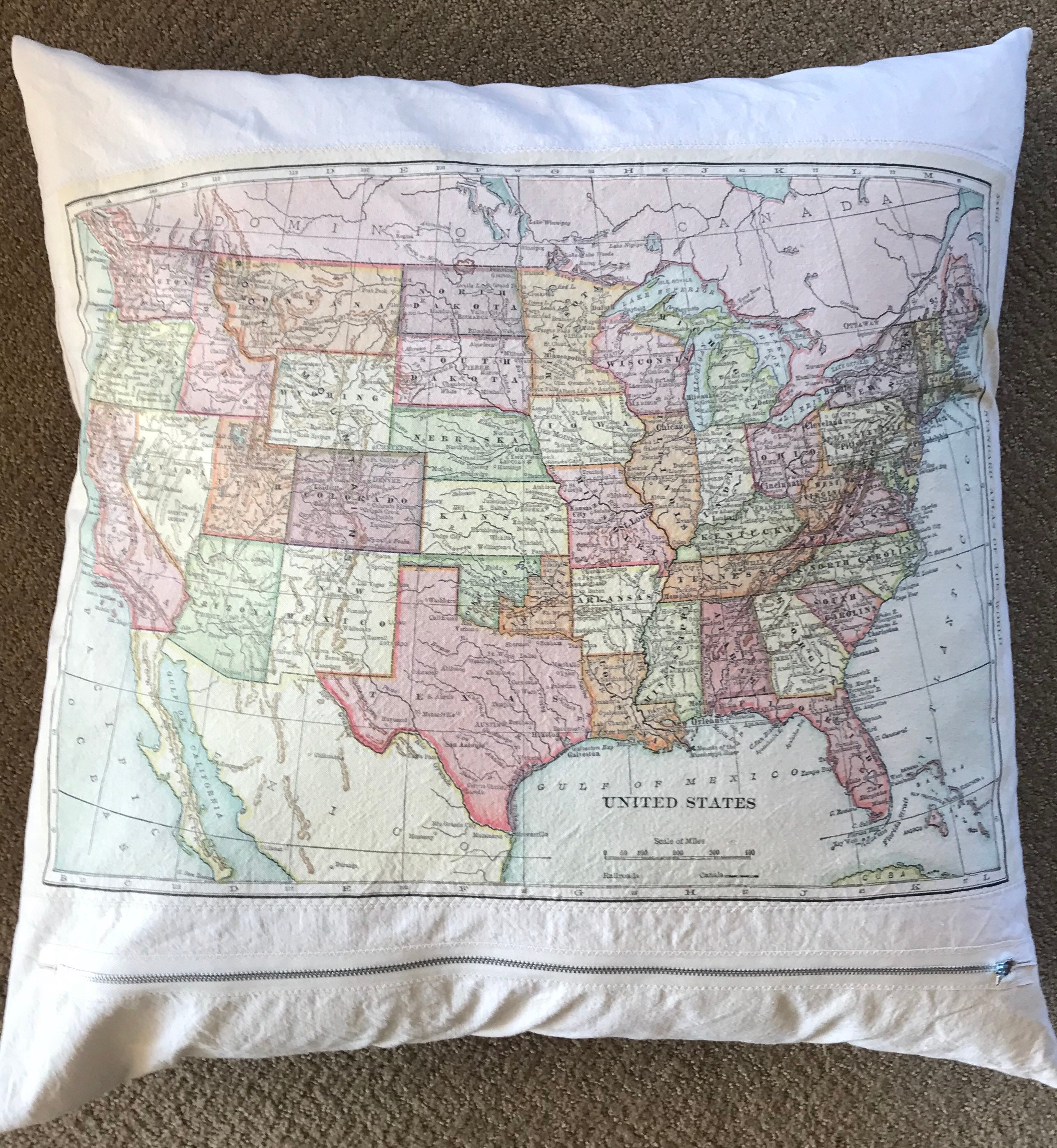 Giant Us Map Pillow Etsy - Giant-us-map