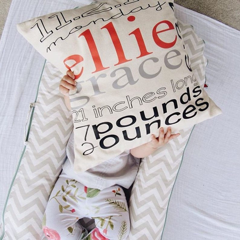 Personalized Birth Announcement Pillow Cover image 0