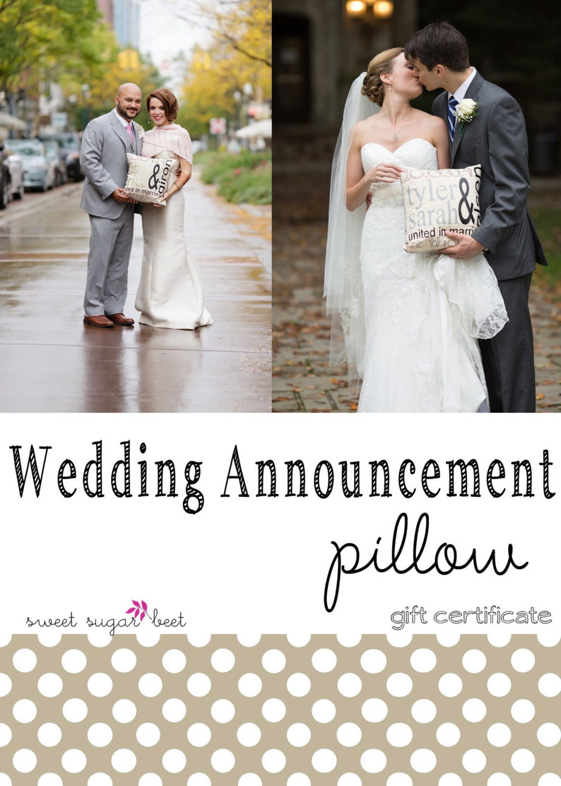 Gift Certificate  Personalized Wedding Announcement Pillow image 0