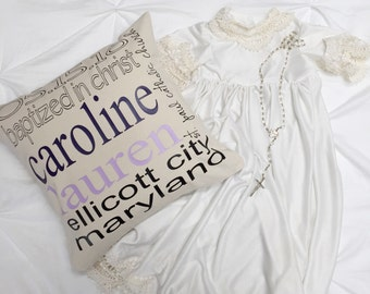 Personalized Baptism Pillow Cover