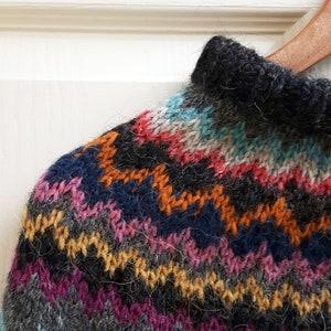 Icelandic Lopi Lettlopi wool Crochet chevron stripe zig zag bright hand made cape  poncho  cowl