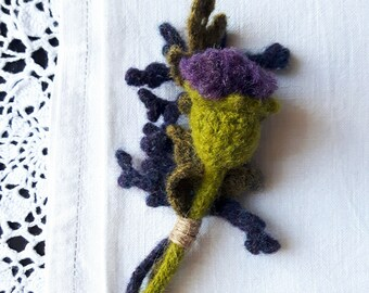 Thistle Scottish Wild Flower hand felted crochet brooch