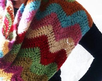 Crochet chevron stripe zig zag bright hand made cape / poncho / cowl - Icelandic Lopi Lettlopi wool