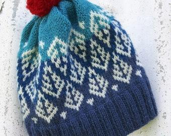 Hand knit Fair Isle hat with tree motif and pom pom   PDF knit pattern