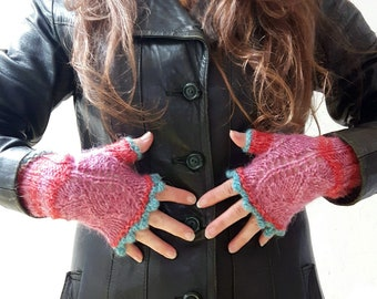Hand knit fingerless gloves, pink / red with lace detail and turquoise picot edge