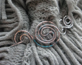 Spiral Galaxy Shawl Pin- Silver Scarf Knit Pin Aluminum Wire- Metal Wire Wrap Pin- Celtic Hammered Pin