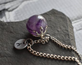 Amethyst Sphere Pendant Necklace- Personalized Necklace Initial Tag Aluminum- Purple Gemstone February Birthstone Charm Necklace