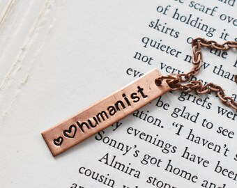 Humanist Stamped Pendant- Copper Humanist Tag Necklace- Metal Hand Stamped Pendant Necklace on  Chain