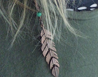 Antique Copper Feather Hair Jewelry- Reticulated Feather Hair Accessory- Festival Hair Chain Clip- Summer Hair Wear -Green Bead Hair Chain