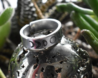 Moon Phase Ring- Stamped Moon Ring- Boho Jewelry- Adjustable Aluminum Silver Stamped