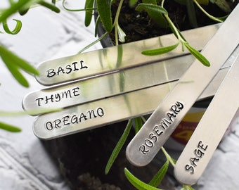 Herb Marker Set- Stamped Metal Plant Herb Stick Name - Aluminum Indoor ID Species Herb Gardener Gift - Mom Housewarming Gift - Set of 5
