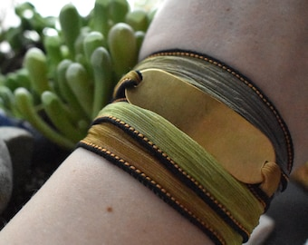 Custom Brass Bracelet- Personalized Silk Wrap- Metal Bracelet Hand Stamped Brass- Yellow Green Silk Wrap Bracelet