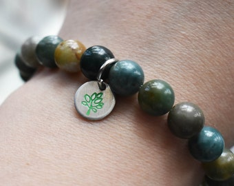 Green Agate Bracelet- Stretch Bracelet- Green Gemstone Tag Bracelet- Stamped Tree Bracelet- Earth Day Jewelry- Tree Hugger