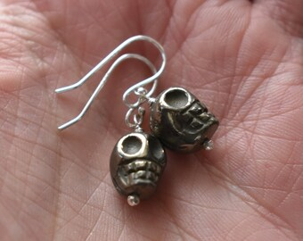 Pyrite Skull Earrings- Sterling Silver Gemstone Earrings- Wire Silver Jewelry- Skull Carved Halloween Earrings
