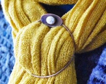 Bronze Scarf Slide- Howlite Metal Shawl Hoop- Winter Wear Gemstone Scarf Buckle - Gift for Her