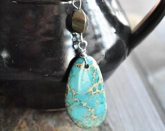 Blue Dyed Jasper Tea  Infuser- Blue Stone Metal Tea Ball Tea Strainer- Mother's Day Gift- Gemstone Tea Steeper Gift