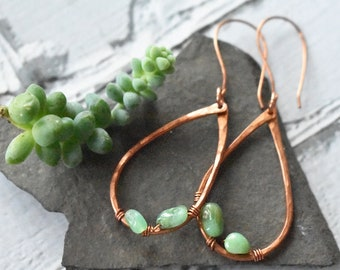 Chrysoprase Earrings- Copper Wire Wrap Stone Jewelry- Mint Green Succulent Color Earrings- Hammered Copper Hoop Teardrops