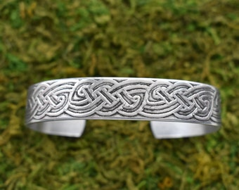 Etched Metal Cuff- Celtic Knotwork Cuff Bracelet- Aluminum Metal Bracelet Adjustable- Aluminum Patinaed Bracelet