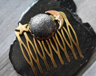 Brass Moon Hair Comb - Copper Metal Hair Pin Set- Medieval Fantasy Hair Stick Thick Copper Hair Pin- Hammered Updo Hair Pin Set