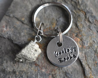 Geology Rocks Keychain- Raw Pyrite Stone Key Chain -Science STEM Geology Gift- Geology Professor Student Gift