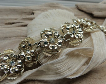 Vintage Bracelet Bouquet Wrap- Wedding Flower Wrap Decor-Gold Flower Rhinestone Bouquet Handle Wrap- Something Old Wedding Flower Gift
