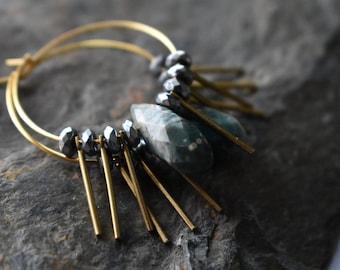 Brass Fringe Earrings- Ocean Jasper Teardrop-  Hematite Hoop Bead Earrings- Gold Hoop Boho Earrings-