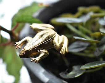 Brass Frog Plant Animal- Turtle Plant Stick- Metal Animal Plant Pot Decor- Indoor Gardener Gift Marker Stick-