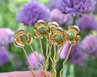 Jade Gold Flower Hair Pins- Gemstone Celtic Medieval Hair Accessory- Wired Bead Flower Hair Stick Set of 5 - Bun Holder Pins