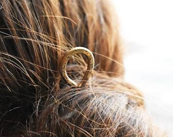 Star Hair Stick- Loop Bronze Hammered Hair Stick - Celestial Brass Hair Stick- Metal Hair Pin