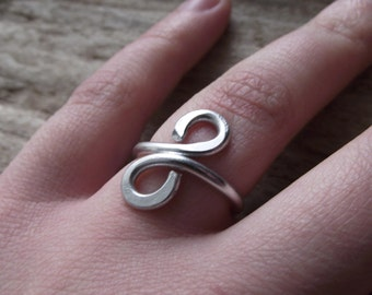 Silver Aluminum Wrap Ring- Custom Jewelry Wire Wrap Adjustable Ring Looped - Infinity Symbol Ring