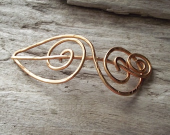 """Copper Color Shawl Pin Scarf Pin- Aluminum Wire Hammered Scroll Copper Unique  Design-""""A Sure Thing"""""""