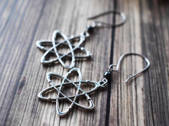 Atomic Symbol Science Earrings Silver Atom Earrings Etsy