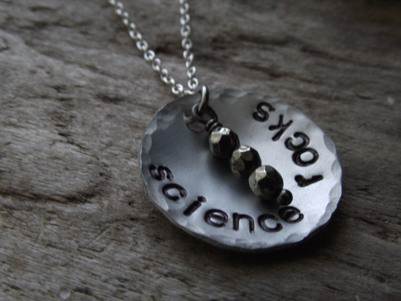 Science Rocks Necklace Scientist Professor Gift Funny Gemstone Hand Stamped Jewelry Iron Pyrite Aluminum Science Pendant