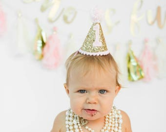 First Birthday Outfit Girl Party Hat, Mini Glittery Party Hat, Cake Smash Outfit Girl Hat, Pink and Gold 1st Birthday Hat, Cake Smash Hat