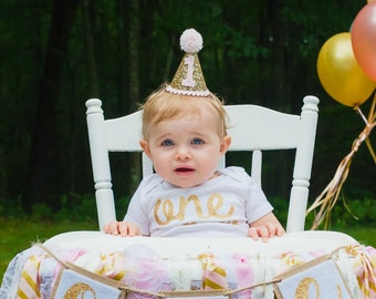 First Birthday Outfit Girl Hat, Baby Hat, Baby Headband Hat, Pink and Gold 1st Birthday Hat, First Birthday Hat, Gold Party Hat, Cake Smash
