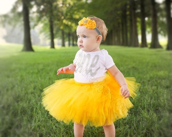 5d7d60f8a8 Yellow First Birthday Outfit Girl, Baby Tutu Dress Set, Baby Headband, Baby  Girl Tulle Skirt Set 1st Birthday Outfit Girl, Cake Smash Outfit