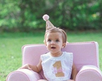 Glittery Mini Party Hat Pink And Gold 1st Birhtday First Birthday Cake Smash Outfit