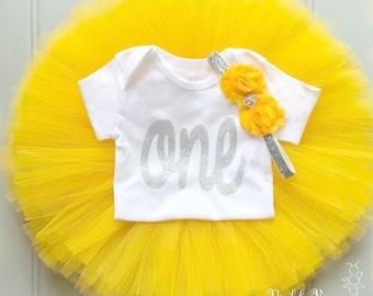 5a0f3eb319 Yellow First Birthday Outfit Girl, Baby Tutu Dress Set, Baby Headband, Baby  Girl Cake Smash Outfit, 1st Birthday Outfit Girl Spring Birthday