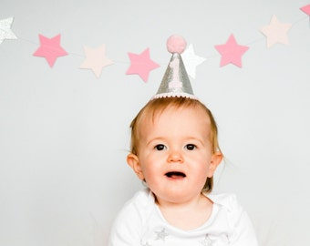 First Birthday Hat, Pink and Silver Party Hat, Mini Glittery Party Hat, Cake Smash Hat, 1st Birthday Hat, Baby Girl's Photo Prop Glitter Hat