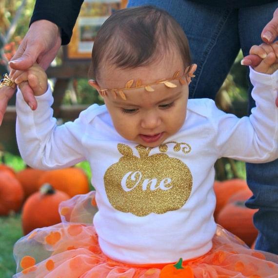 Pumpkin Smash Cake: First Birthday Outfit Girl Bodysuit Cake Smash Outfit Girl